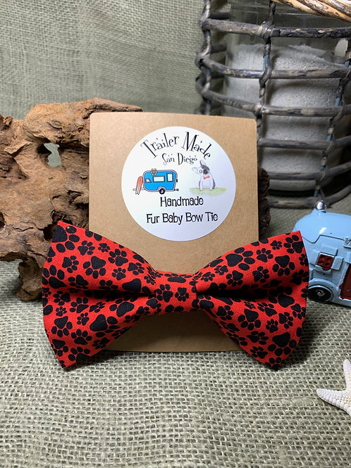 Red and Black Paw Prints Fur Baby Bow Tie