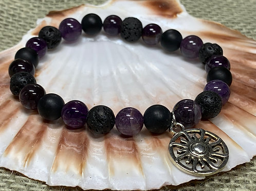 Amethyst and Sun Charm Aromatherapy Diffuser Bracelet