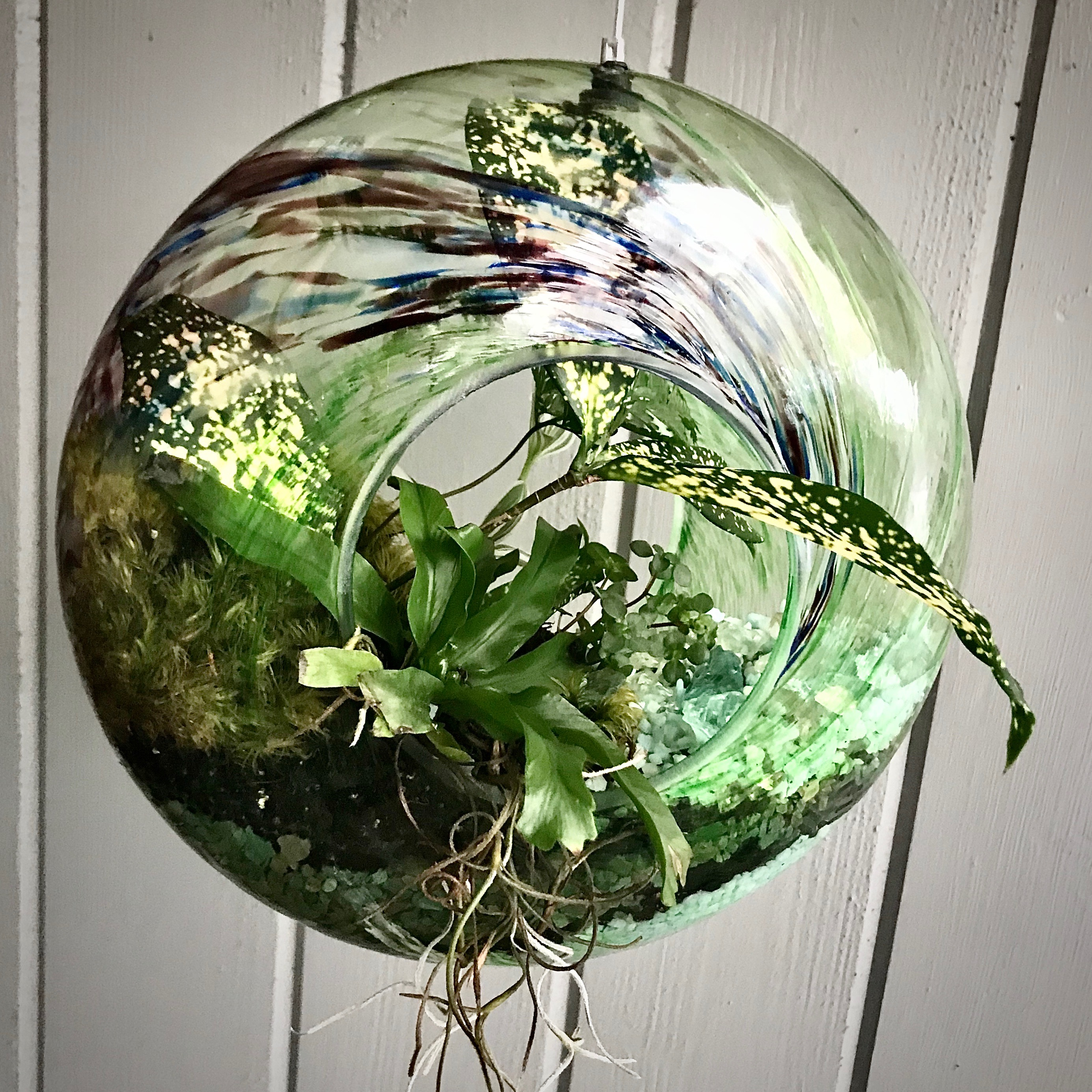 Blown Glass Bird Feeder Container Garden