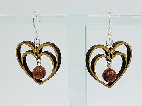Double Heart Earrings with Goldstone Bead