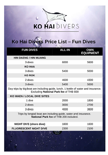 Price List Koh Ngai, Koh Waen, Koh Haa,