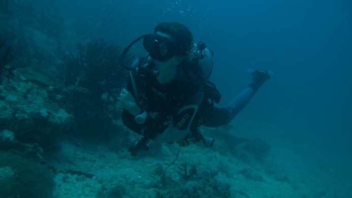 Divemaster Britta relaxing under water