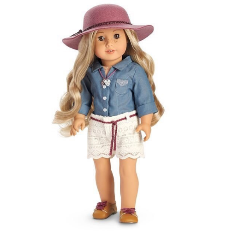 American Girl Doll Tenney Grant Meet Denim Vest Top New! Shirt Outfit