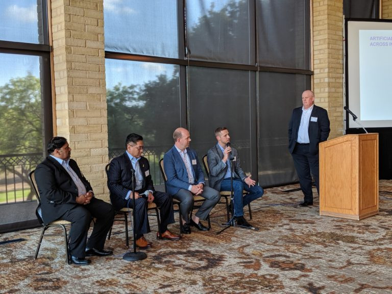 From left to right: Yasir Bashir of Saxony Partners, Robert Kirk of InterGen Data, Richard Hayden of Nestle Skin Health, Justin Bundick of Southwest Airlines, and Alan Stein of Saxony Partners