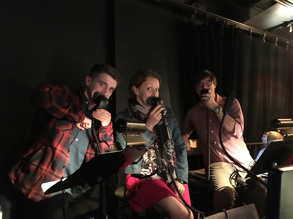 L to R: Jack Miggins, me and Aaron Aptaker. We were right under an AC vent, hence the flannel and the jacket and the scarf.