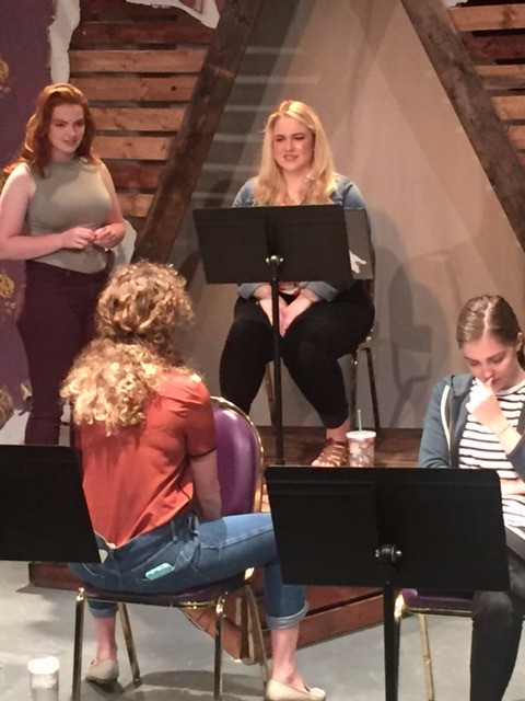 Four of the young women from our staged reading, pre-show.