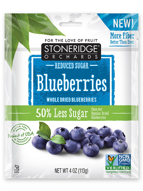 Reduced Sugar Whole Dried Blueberries 6/4oz