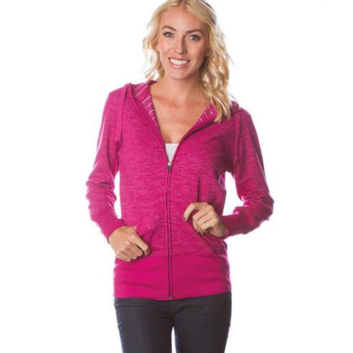 Baja Stripe French Terry Zip Hood - Ladies