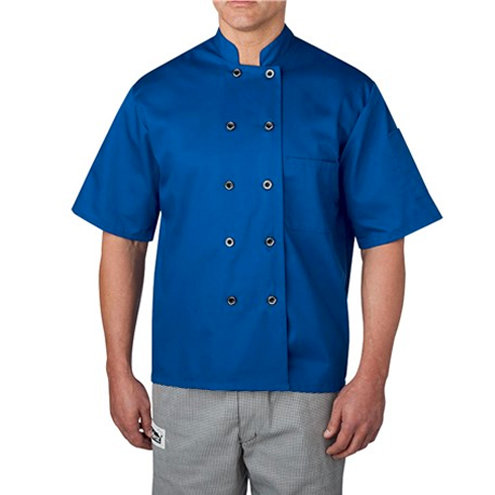 Short Sleeve Primary Plastic Button Chef Jacket
