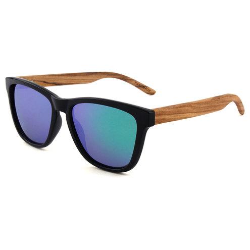 Zebra Wood Sunglasses - Black Frames & Mirrored Lenses