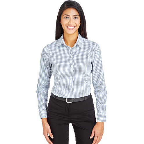 Devon & Jones Ladies' CrownLux Performance™ Micro Windowpane Shirt