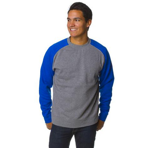 Fitted Raglan Pullover Crew Neck Sweatshirt