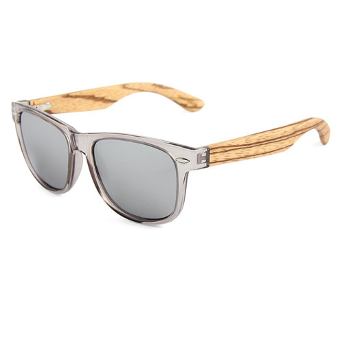 Zebra Wood Sunglasses - SIlver Frames & Polarized Lenses