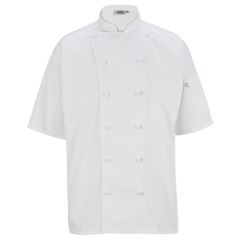 12 Button Short Sleeve Chef Coat w/ Mesh