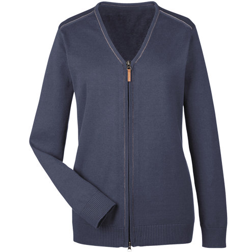Devon & Jones Ladies' Manchester Fully-Fashioned Full-Zip Sweater