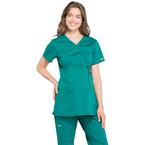 Cherokee Workwear Professionals Women's Maternity Mock Wrap Top