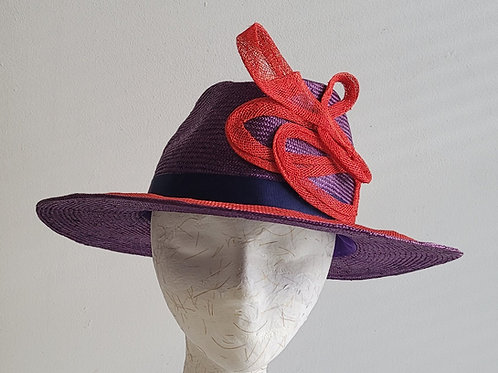 Fedora with high-low crown