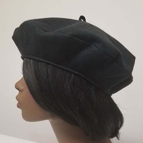 Beret Hat, black wool