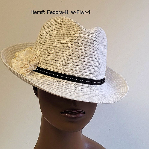White Fedora Hat with Flower
