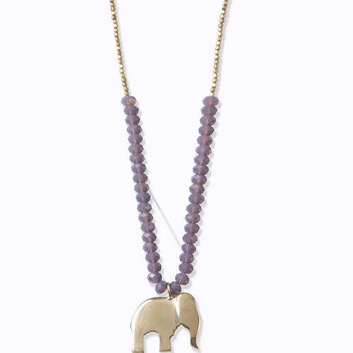 Swahili Elephant Beaded Necklace :: Elephant Grey Hues
