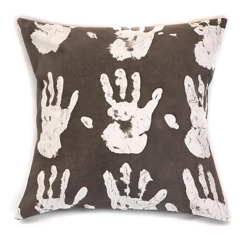 Hand-printed Cushion - Tribal Cloth Mushroom - Hands