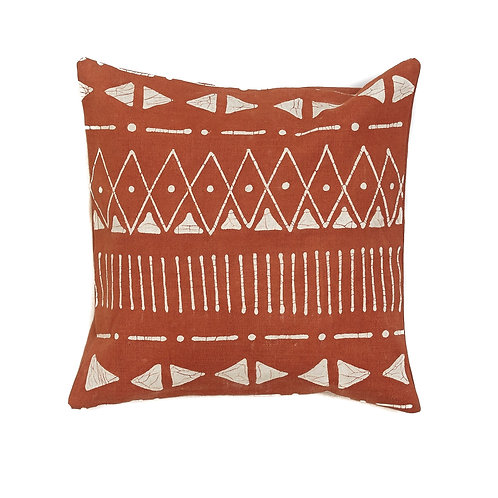 Hand-printed Cushion - Matika Rust Linear