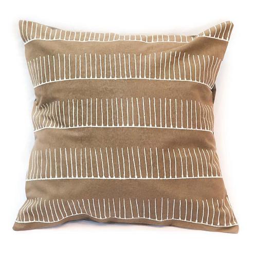 Hand-printed Cushion - Tribal Cloth Mushroom - Rake