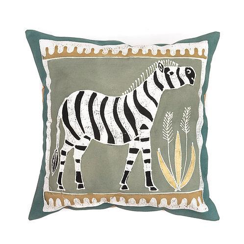 Hand-printed Cushion - Animals Earth