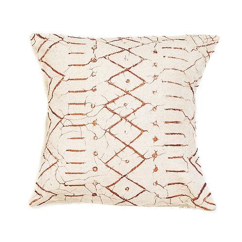 Hand-printed Cushion - Matika Linen Rust