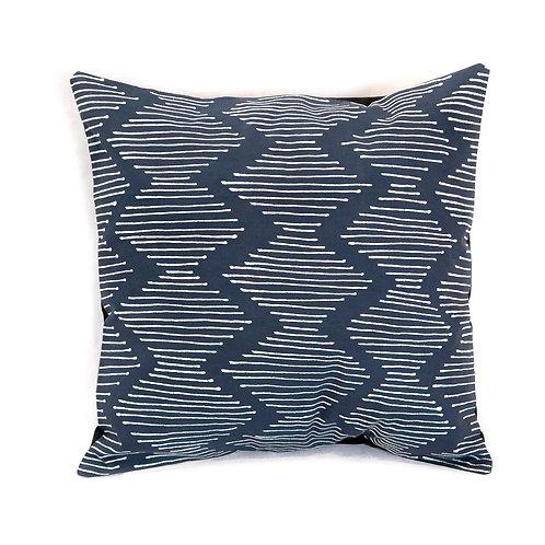 Hand-printed Cushion - Tribal Cloth Indigo - Line Wave