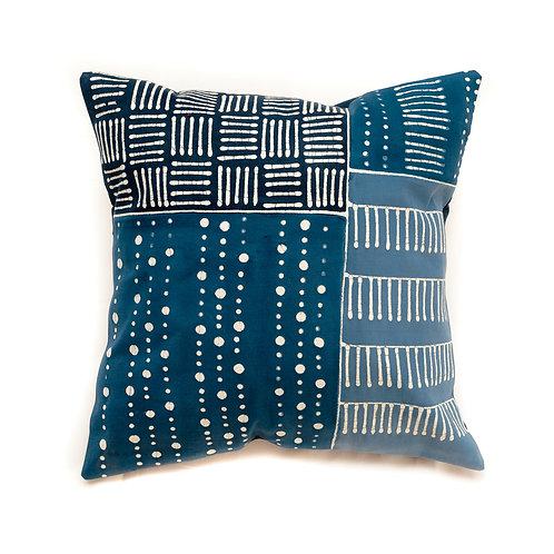 Hand-printed Cushion - Tribal Cloth Indigo - Multiprint