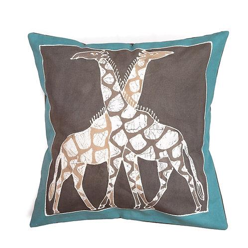 Hand-printed Cushion - Animals Teal