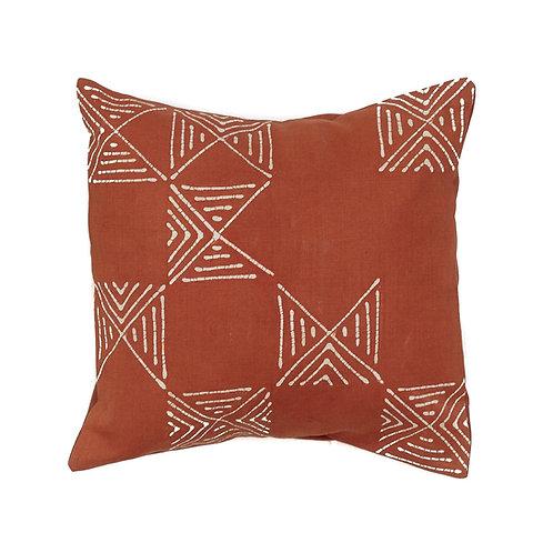 Hand-printed Cushion - Matika Rust Grid