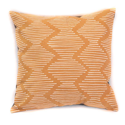 Hand-printed Cushion - Tribal Cloth Mushroom - Line Wave