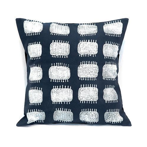 Hand-printed Cushion - Tribal Cloth Indigo - Spike