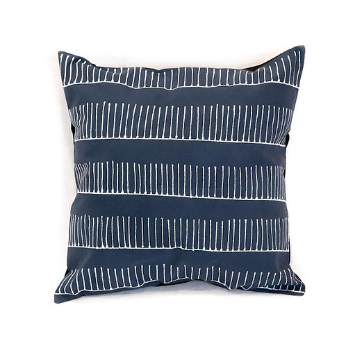 Hand-printed Cushion - Tribal Cloth Indigo - Rake