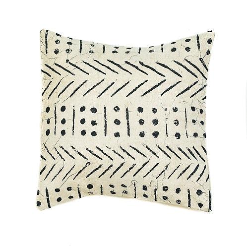 Hand-printed Cushion - Matika Linen Black