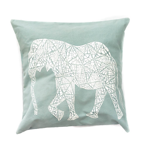 Hand-printed Cushion - Crackle Animals Elephant