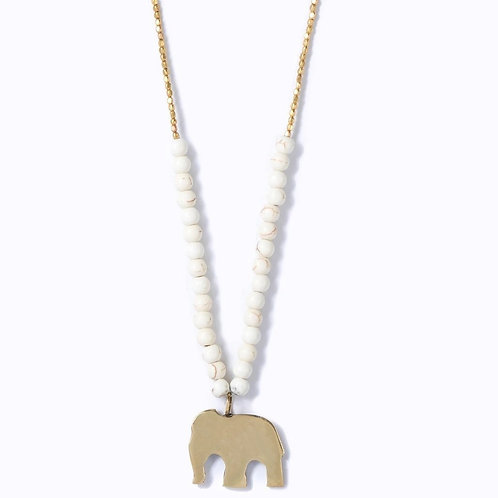Swahili Elephant Beaded Necklace :: Ivory Hues