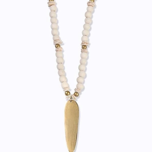 Amazon Beaded Necklace :: Natural Wood