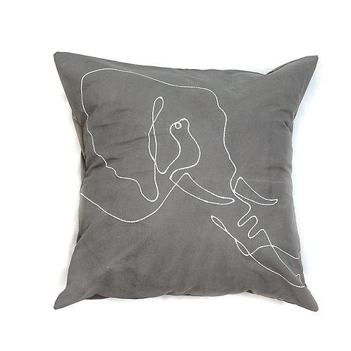 Hand-printed Cushion - Wild Lines Elephant