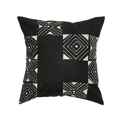 Hand-printed Cushion - Matika Black Grid