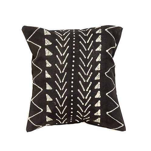 Hand-printed Cushion - Matika Black Linear