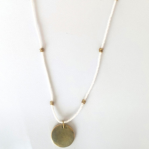 Addis Disc Bead Necklace :: Ivory hues