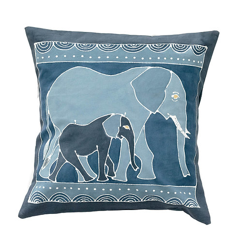 Hand-printed Cushion - Animals Indigo