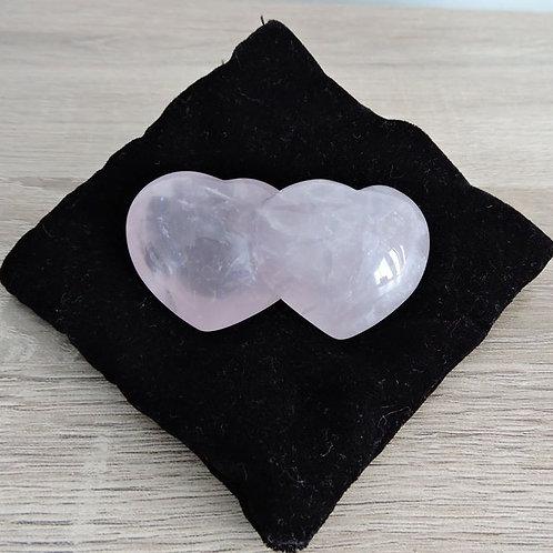 Rose Quartz Double Heart