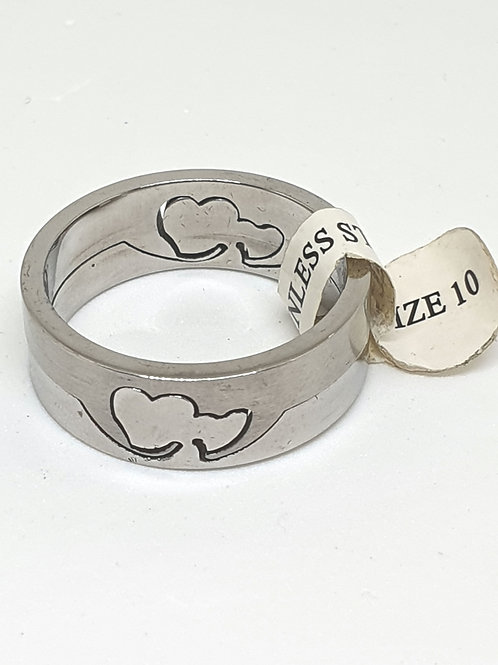 Stainless steel laser cut hearts ring