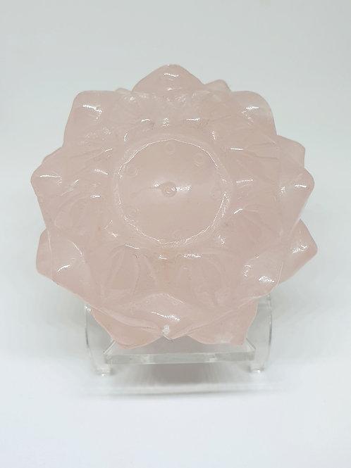 Rose quartz lotus flower
