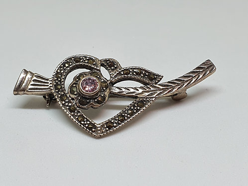 Stirling silver Rose quartz & Marcasite brooch