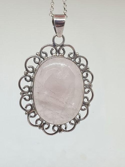 Rose Quartz Sterling silver pendant. 6.5 cm long